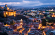 View of Old Town and Narikala Fortress at dusk in Tbilisi, Republic of Georgia.