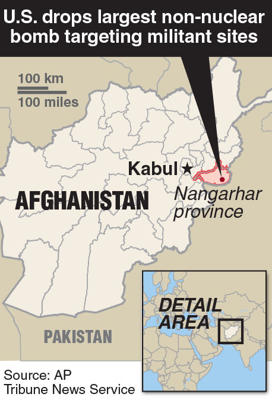 Locator map of Nangarhar province, Afghanistan where U.S. drops large bomb targeting Islamic militants