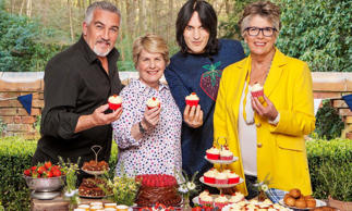 The Great British Bake Off lineup: Paul Hollywood, Sandi Toksvig, Noel Fielding and Prue Leith