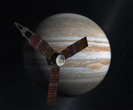 Slide 1 of 11: Artist concept of Juno and Jupiter