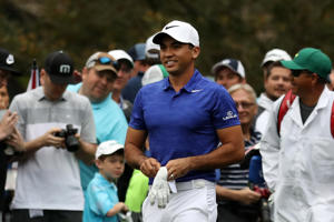 Jason Day reacts during a practice round prior to the start of the 2017 Masters Tournament at Augusta National Golf Club.