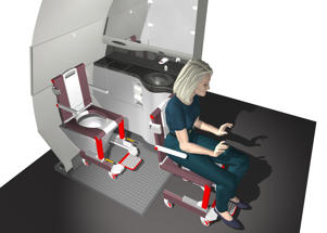 A rendering of the Smart Onboard Wheelchair which could fit over the toilet seat
