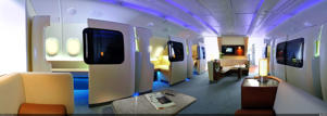 A rendering of the future first class cabins on board Airbus's A380 aircraft
