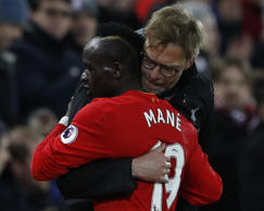 Liverpool's Sadio Mane with Liverpool manager Juergen Klopp