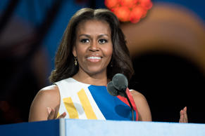 LOS ANGELES, CA - JULY 25:  First Lady Michelle Obama speaks at the opening ceremony of the Special Olympics World Games Los Angeles 2015  at Los Angeles Memorial Coliseum on July 25, 2015 in Los Angeles, California.  (Photo by Earl Gibson III/WireImage)