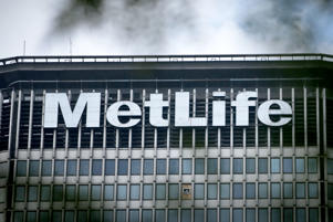 File photo of the Metlife building sign on Park Avenue South in New York City.