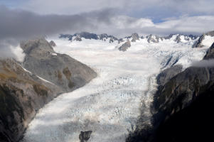 Aerial view of Fox Glacier on the west coast of New Zealand.