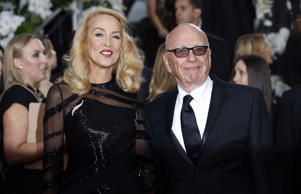 Jerry Hall and Rupert Murdoch at the Golden Globes 2016