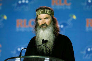 Phil Robertson addresses the Republican Leadership Conference in New Orleans, La., Thursday, May 29, 2014. Several thousand Republicans gathered for the event.