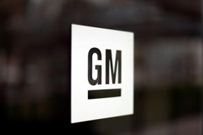 General Motors logo at company headquarters in Detroit