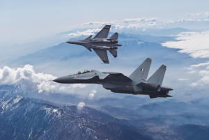 Indian Air Force Sukhoi Su-30 MKI fighter aircraft patrol the skies over the Himalayas.