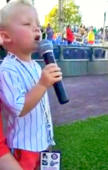 3-year-old boy sings anthem at minor league game, and totally nails it!