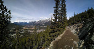 Hiking Trail on Sleeping Buffalo Mountain overlooking the town of Banff in Alberta, Canada