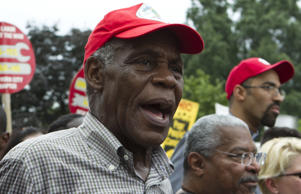 Actor Danny Glover marches with others outside the U.S. Capitol during the Poor People's Campaign rally at the National Mall in Washington on Saturday, June 23, 2018.