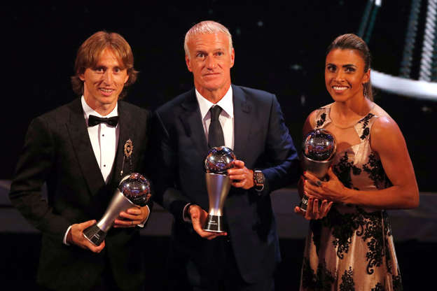 Soccer Football - The Best FIFA Football Awards - Royal Festival Hall, London, Britain - September 24, 2018   Luka Modric, Didier Deschamps and Marta pose with their awards   Action Images via Reuters/John Sibley