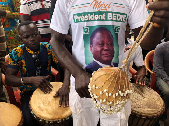Slide 3 of 35: Supporters of PDCI (Democratic party of the Ivory Coast) celebrate during their meeting, in Daoukro, Ivory Coast, September 24, 2018. REUTERS/Luc Gnago