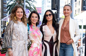 CAPTION: Actress Drew Barrymore (L), Lucy Liu (CL), Demi Moore (CR) and Cameron Diaz (R) stand on the star during Liu's Walk of Fame ceremony in Hollywood on May 1, 2019. - Lucy Liu's star is the 2,662nd star on the Hollywood Walk Of Fame in the Category of Television. (Photo by VALERIE MACON / AFP) (Photo credit should read VALERIE MACON/AFP/Getty Images)