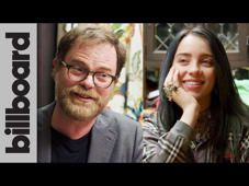 a man and a woman taking a selfie: Billboard sent Rainn Wilson, who portrayed Dwight Schrute on the iconic television series 'The Office,' to Billie Eilish's house to surprise her and to quiz her on some show-related trivia.  #BillieEilish #RainnWilson #Billboard #TheOffice #MyStrangeAddiction  Subscribe for The Latest Hot 100 Charts & ALL Music News! ►► https://bitly.com/BillboardSub Billboard News: New Channel, Same Awesome ►► http://bit.ly/DailyMusicNews