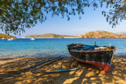 Fishing boat at the beach of Kampi village on Fourni island in Greece.