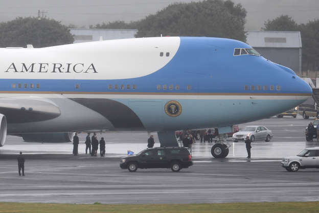 GLASGOW, SCOTLAND - JULY 15: U.S. President, Donald Trump and First Lady, Melania Trump depart from Glasgow Prestwick Airport aboard Air Force One, following the U.S. President's first official visit to the United Kingdom on July 15, 2018 in Glasgow, Scotland.