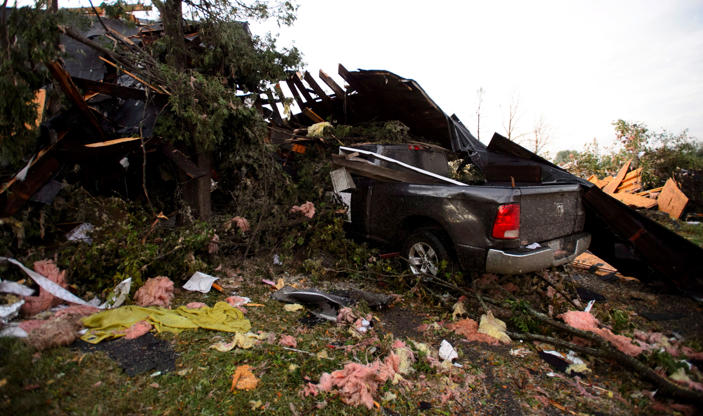 Slide 8 of 21: Damage from a tornado is seen in Dunrobin, Ont. west of Ottawa on Sept. 21, 2018. A tornado damaged cars in Gatineau, Que., and houses in a community west of Ottawa on Friday afternoon as much of southern Ontario saw severe thunderstorms and high wind gusts, Environment Canada said.
