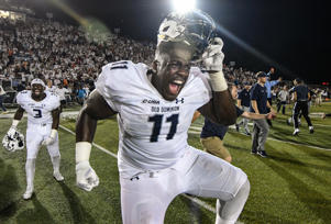BLACKSBURG, VA - SEPTEMBER 22: Defensive tackle Miles Fox #11 of the Old Dominion Monarchs celebrates the victory against the Virginia Tech Hokies at S. B. Ballard Stadium on September 22, 2018 in Norfolk, Virginia.