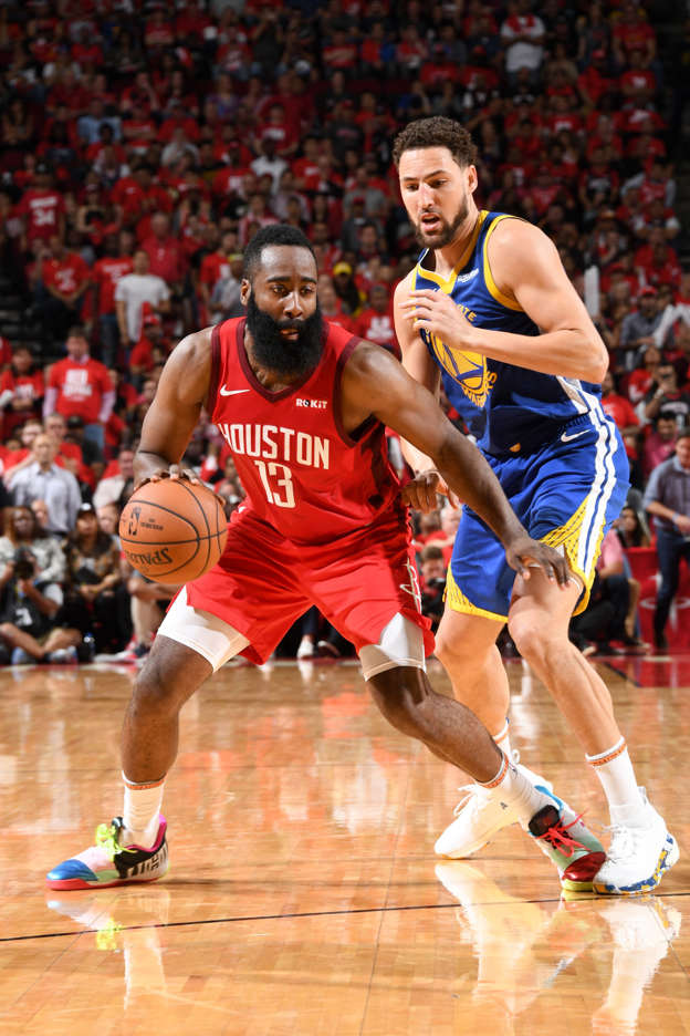 78cc67fdb4b3 Harden scores 38 as Rockets even series with Warriors