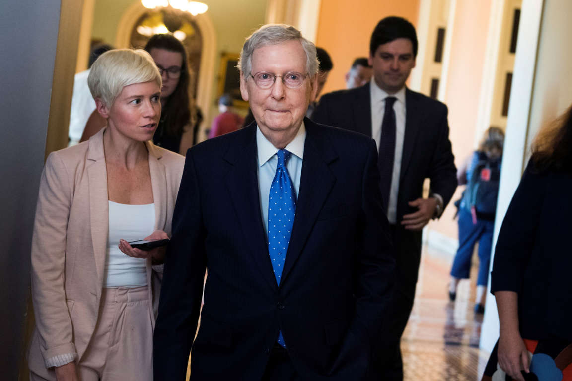 Senate Majority Leader Mitch McConnell, R-Ky., leaves the Senate floor after making a speech on the Mueller report on May 7, 2019.