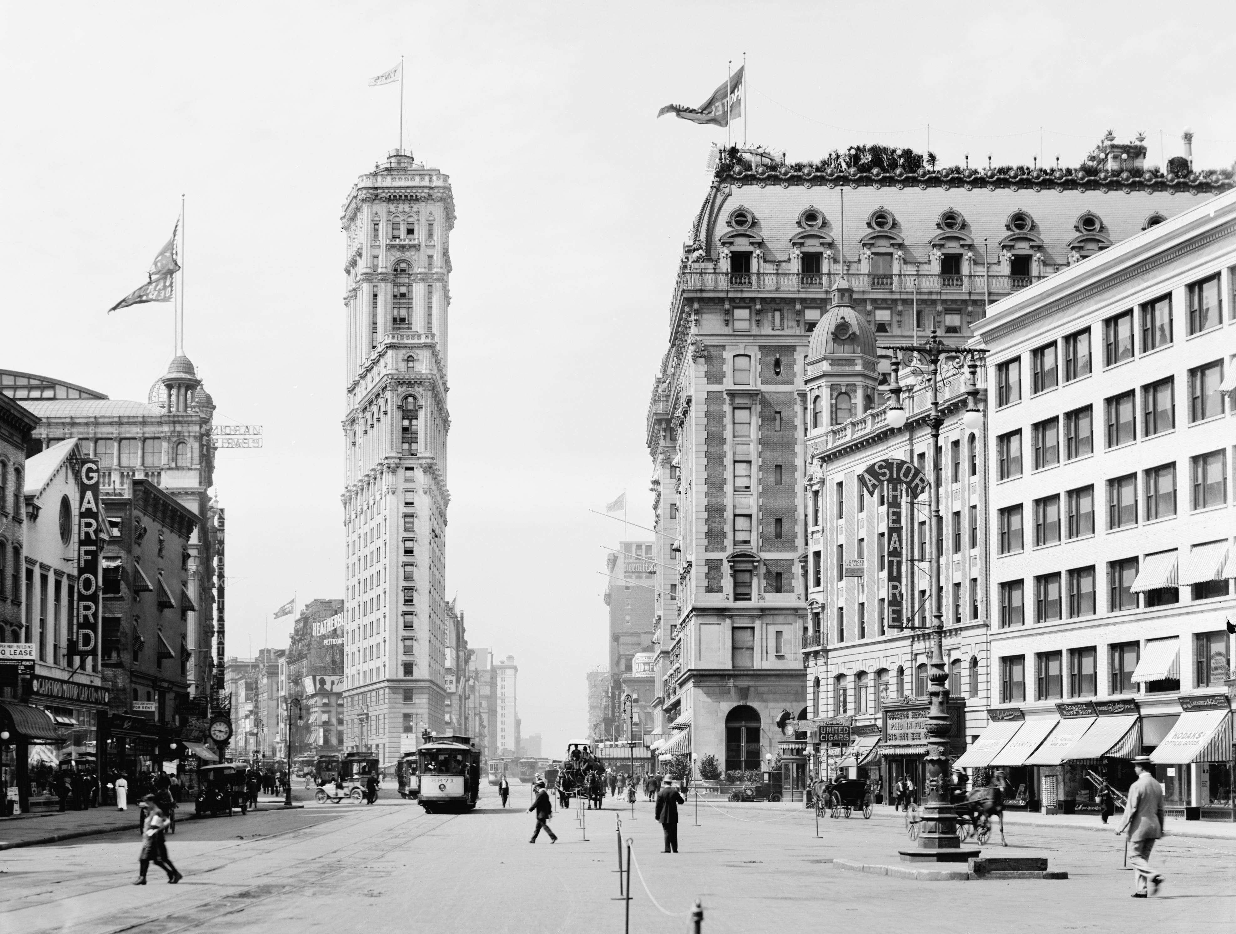 Slide 41 of 55: Times Square, New York City, USA, circa 1908