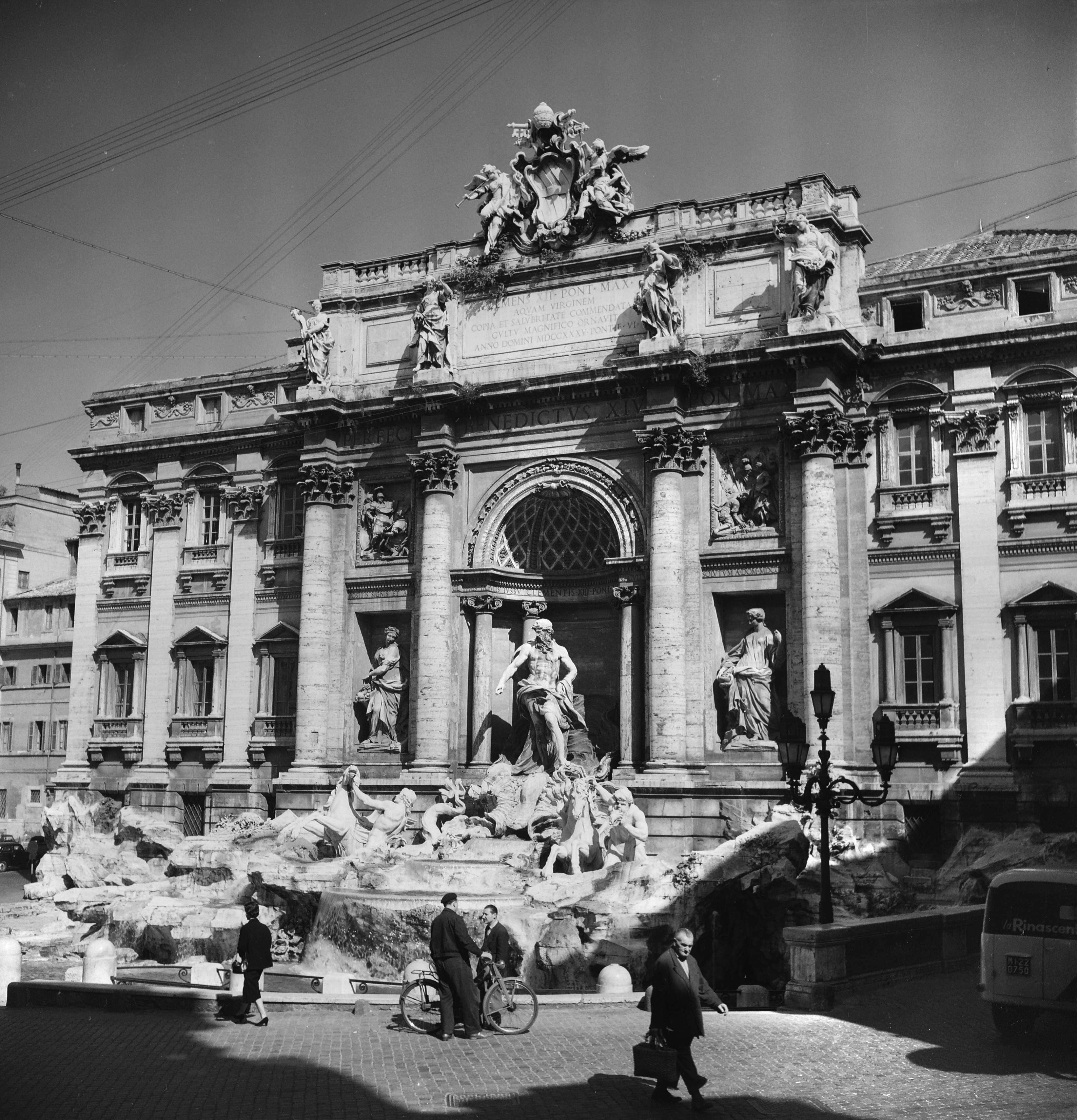 Slide 9 of 55: ITALY - CIRCA 1954: Rome (Italy). The fountain of Trevi (1762), by Niccol? Salvi, architect. May 1954. RV-109438. (Photo by Roger Viollet/Getty Images)