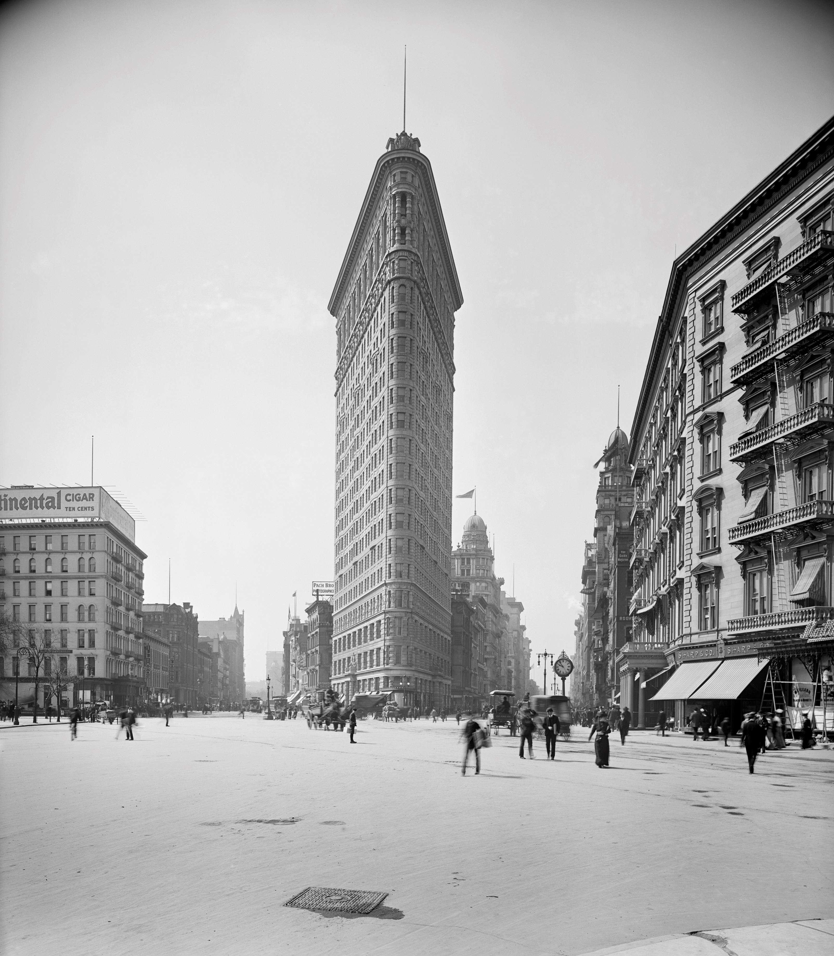 Slide 23 of 55: Flatiron Building, New York City, New York, USA, Detroit Publishing Company, 1902. (Photo by: Universal History Archive/UIG via Getty Images)