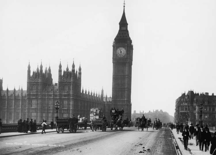 Slide 1 of 55: Westminster Bridge, London, with the Palace of Westminster and the clocktower of Big Ben in the background, circa 1892. (Photo by London Stereoscopic Company/Hulton Archive/Getty Images)