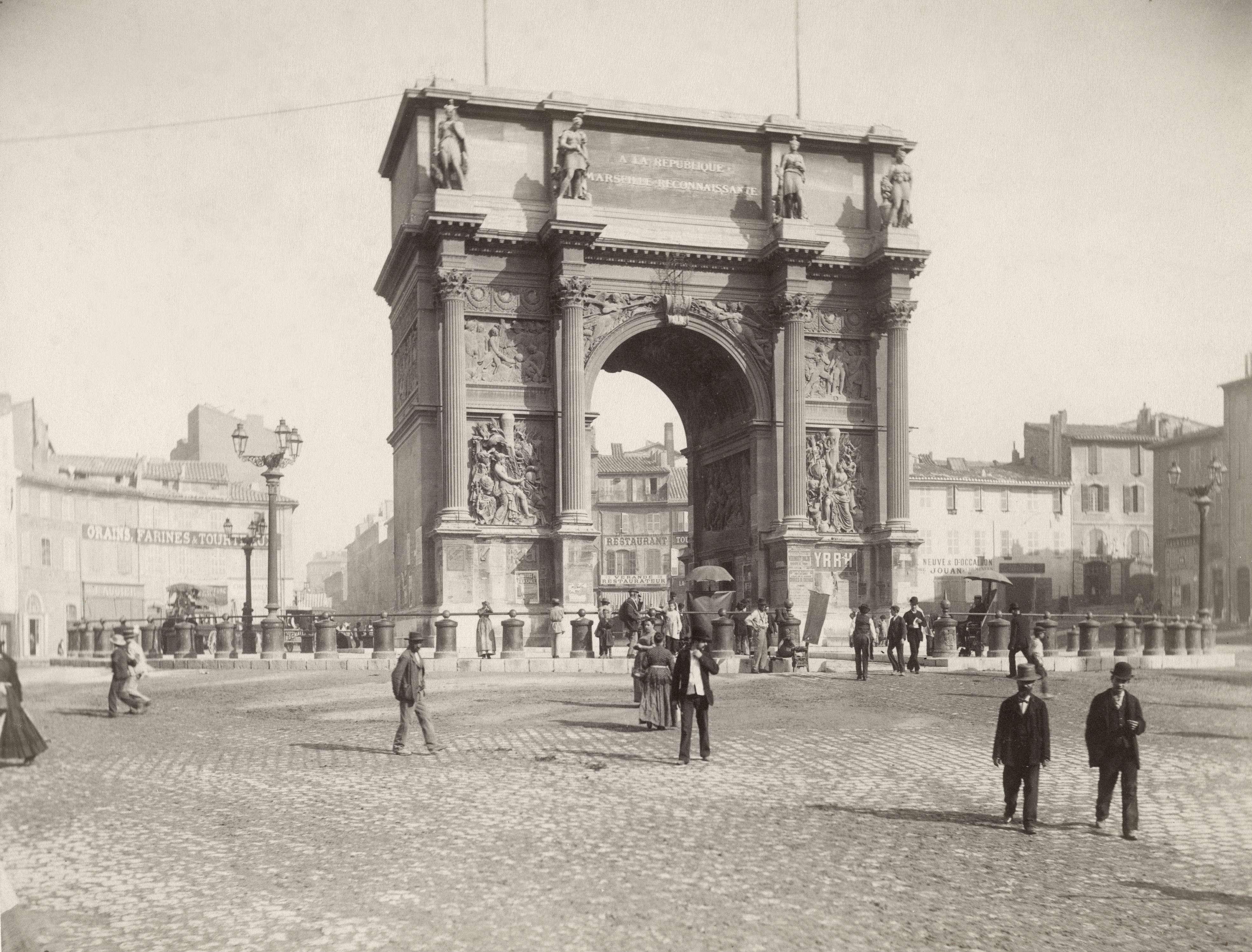 Slide 50 of 55: Arc de Triomphe, Marseilles, France, Albumen Photograph, circa 1895. (Photo by: Universal History Archive/UIG via Getty Images)