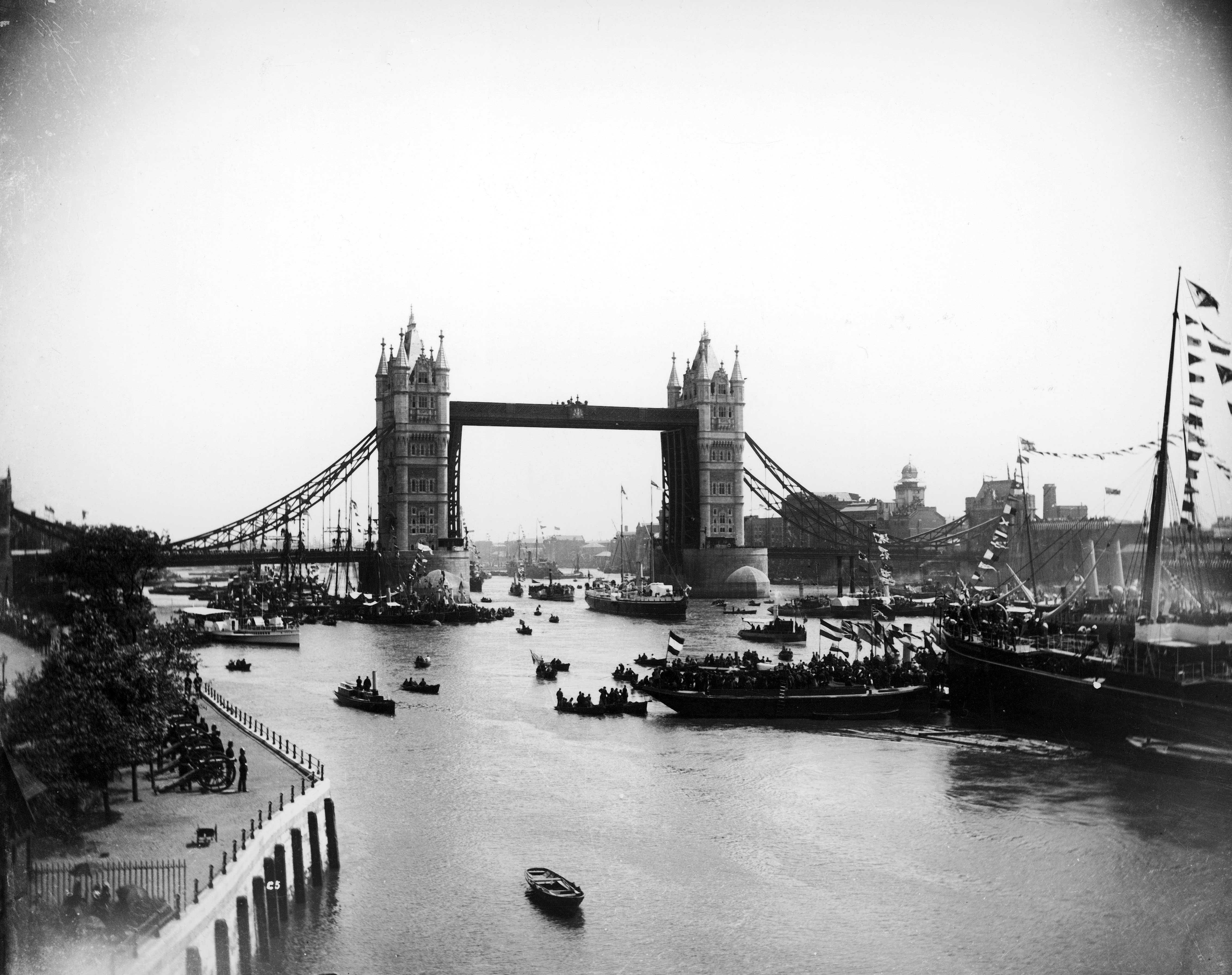 Slide 46 of 55: LONDON, ENGLAND - CIRCA 1894: Opening day for the brand new Tower Bridge. (Photo by Mansell/The LIFE Picture Collection/Getty Images)