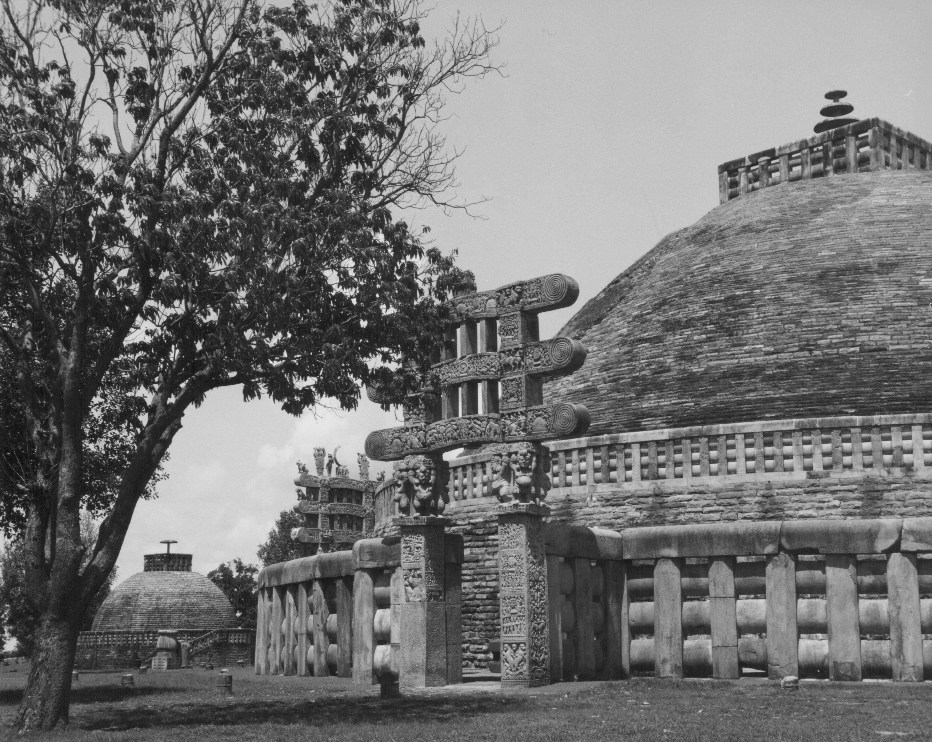 Slide 33 of 55: Carved decoration of the Northern gateway to the Great Stupa of Sanchi, a site of Buddhist pilgrimage, India, circa 1920-1960. (Photo by American Stock Archive/Archive Photos/Getty Images)