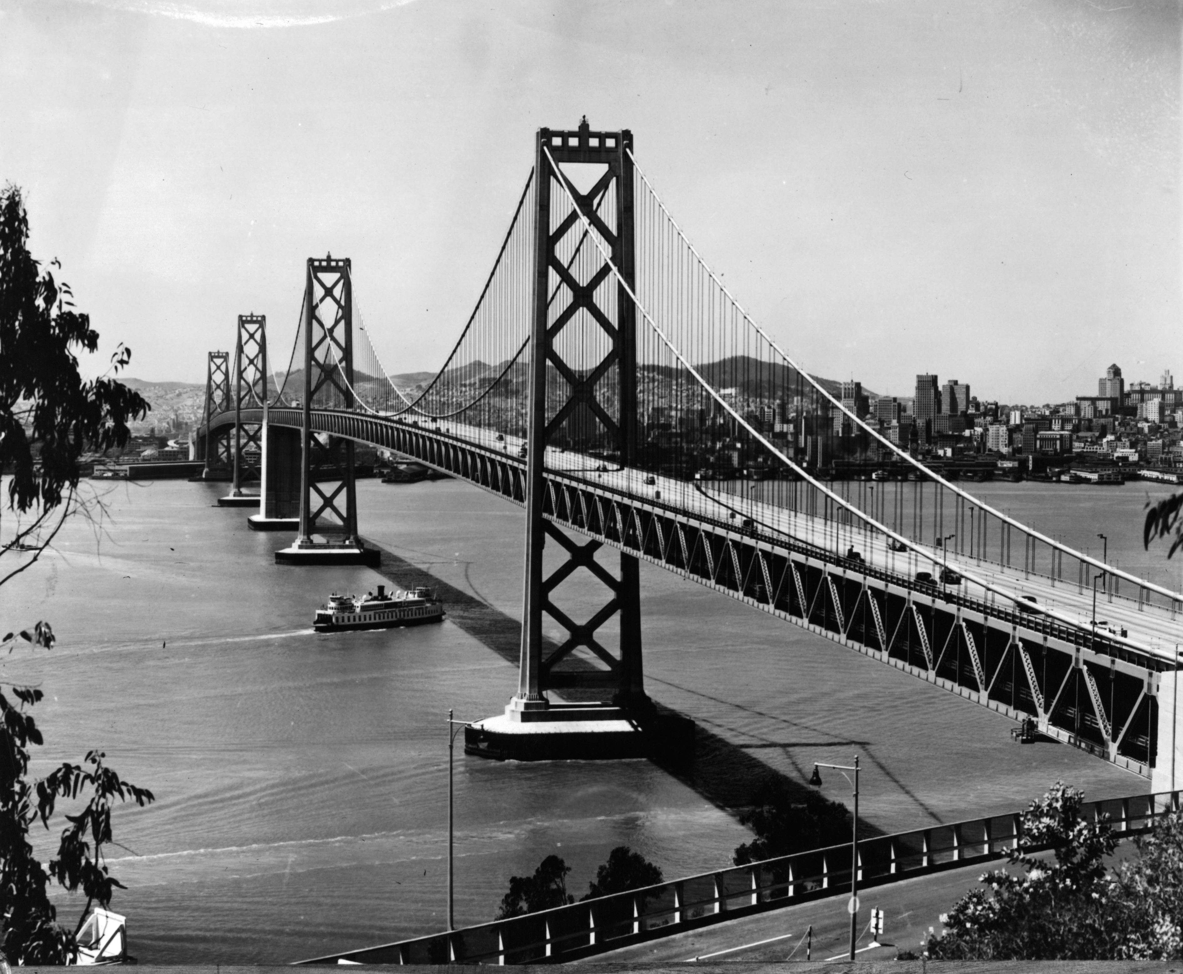 Slide 48 of 55: Bay Bridge near San Francisco, California, circa 1940. (Photo by American Stock Archive/Archive Photos/Getty Images)