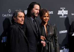 "Cast members Ian McShane, Keanu Reeves and Halle Berry arrive for a screening of the movie ""John Wick: Chapter 3 - Parabellum"" in Los Angeles, California, U.S. May 15, 2019. REUTERS/Mario Anzuoni"