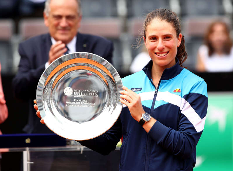 ROME, ITALY - MAY 19:  Johanna Konta of Great Britain holds her runners up trophy after her straight sets defeat against Karolina Pliskova of the Czech Republic in the women's final during day eight of the International BNL d'Italia at Foro Italico on May 19, 2019 in Rome, Italy. (Photo by Clive Brunskill/Getty Images)