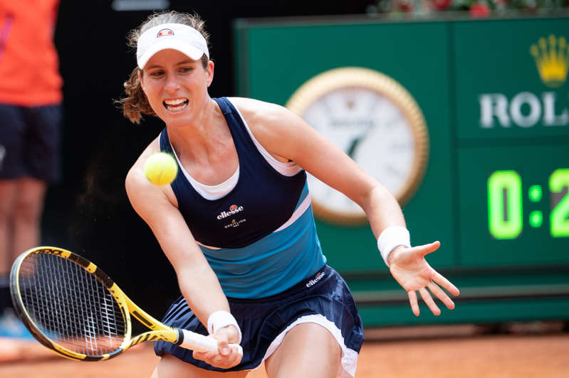 Johanna Konta (GBR) in action in her Women Final match against Karolina Pliskova (CZE) during Internazionali BNL D'Italia Italian Open at the Foro Italico, Rome, Italy on 19 May 2019. (Photo by Giuseppe Maffia/NurPhoto via Getty Images)