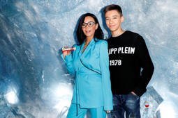HAMBURG, GERMANY - FEBRUARY 20: Verona Pooth and her son Diego Pooth during the Kinder Frozen Pop-Up Store Opening on February 20, 2019 in Hamburg, Germany. (Photo by Franziska Krug/Getty Images for Kinder)