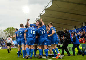 Dublin , Ireland - 18 May 2019; Leinster players celebrate their side's second try during the Guinness PRO14 semi-final match between Leinster and Munster at the RDS Arena in Dublin. (Photo By Harry Murphy/Sportsfile via Getty Images)