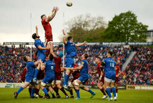 Dublin , Ireland - 18 May 2019; Peter OMahony of Munster wins possession in a lineout ahead of Scott Fardy of Leinster during the Guinness PRO14 semi-final match between Leinster and Munster at the RDS Arena in Dublin. (Photo By Diarmuid Greene/Sportsfile via Getty Images)