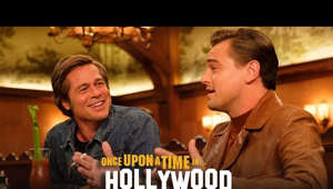 "a man talking into a microphone: ""In this town, it can all change…like that."" Watch the new #OnceUponATimeInHollywood trailer - in theaters July 26.  https://www.OnceUponATimeInHollywood.movie  Follow Us On Social: https://www.facebook.com/OnceInHollywood https://www.twitter.com/OnceInHollywood https://www.instagram.com/OnceInHollywood  Subscribe to Sony Pictures for exclusive content: http://bit.ly/SonyPicsSubscribe  Quentin Tarantino's ONCE UPON A TIME IN HOLLYWOOD visits 1969 Los Angeles, where everything is changing, as TV star Rick Dalton (Leonardo DiCaprio) and his longtime stunt double Cliff Booth (Brad Pitt) make their way around an industry they hardly recognize anymore. The ninth film from the writer-director features a large ensemble cast and multiple storylines in a tribute to the final moments of Hollywood's golden age.    #LeonardoDiCaprio #BradPitt #QuentinTarantino #MargotRobbie #Hollywood #Sony #OfficialTeaser #Trailer"