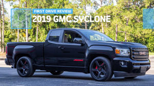 a car parked on the side of a road: 2019 GMC Syclone First Drive Cover