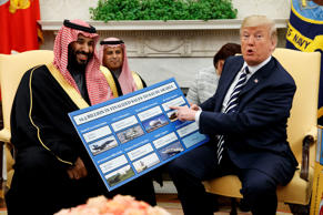 FILE - In this March 20, 2018 file photo, President Donald Trump shows a chart highlighting arms sales to Saudi Arabia during a meeting with Saudi Crown Prince Mohammed bin Salman in the Oval Office of the White House, in Washington. Arab states resoundingly condemned the killing of more than 50 Palestinians on Monday, May 14, 2018 in Gaza protests, just as they have after previous Israeli violence going back decades. But behind the scenes, fears over Iran have divided Arab leaders, with some willing to quietly reach out to Israel. (AP Photo/Evan Vucci, File)