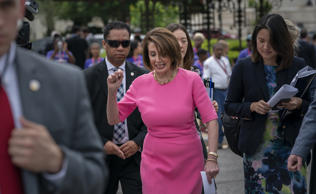 Speaker of the House Nancy Pelosi, D-Calif., center, departs after speaking to members of the Democratic Women's Caucus and the Pro-Choice Caucus at a news conference on Roe vs. Wade and women's rights, at the Capitol in Washington, Thursday, May 23, 2019. (AP Photo/J. Scott Applewhite)