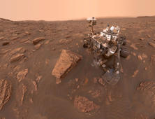 MOUNT SHARP, MARS - JUNE 20: (----EDITORIAL USE ONLY  MANDATORY CREDIT - 'NASA/JPL-CALTECH/MSSS / HANDOUT' - NO MARKETING NO ADVERTISING CAMPAIGNS - DISTRIBUTED AS A SERVICE TO CLIENTS----) A self-portrait of NASA's Curiosity Mars rover shows the robot at a drilled sample site called 'Duluth' on the lower slopes of Mount Sharp in Mars on June 20, 2018. A Martian dust storm reduced sunlight and visibility in Gale Crater. The north-northeast wall and rim of the crater lie beyond the rover, their visibility obscured by atmospheric dust. (Photo by NASA/JPL-CALTECH/MSSS / HANDOUT/Anadolu Agency/Getty Images)