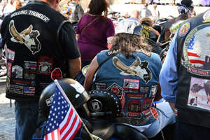 "Rolling Thunder motorcyclists gather at the Washington National Cathedral for the ""Blessing of the Bikes"" on May 24, 2019."