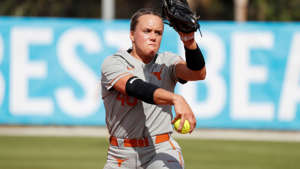 Texas pitcher Miranda Elish #40 during an NCAA softball game on Thursday Feb. 14, 2019 in Clearwater, Fla. (AP Photo/Casey Brooke Lawson)