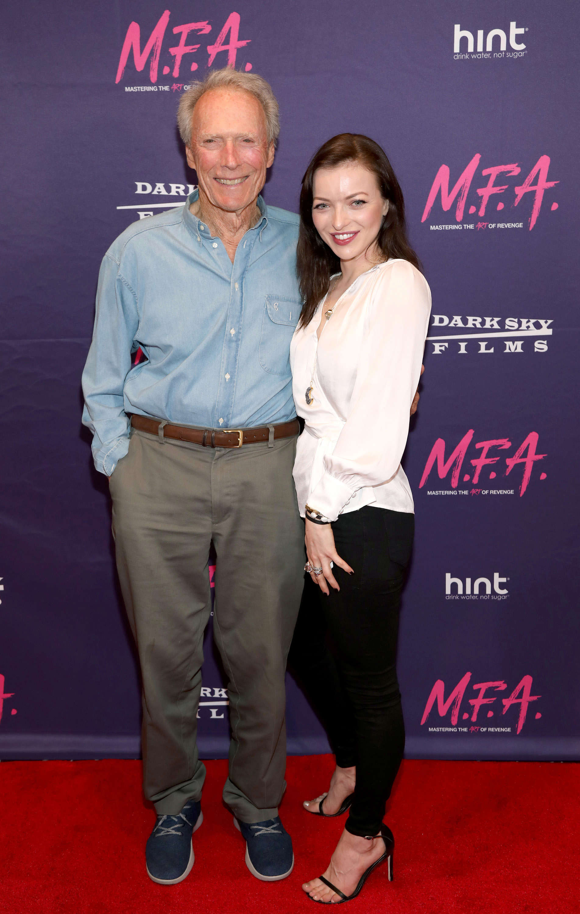"Slide 8 of 18: WEST HOLLYWOOD, CA - OCTOBER 02:  Actor Clint Eastwood poses with his daughter actress Francesca Eastwood at the Premiere Of Dark Sky Films' ""M.F.A."" at The London West Hollywood on October 2, 2017 in West Hollywood, California.  (Photo by Jerritt Clark/WireImage)"